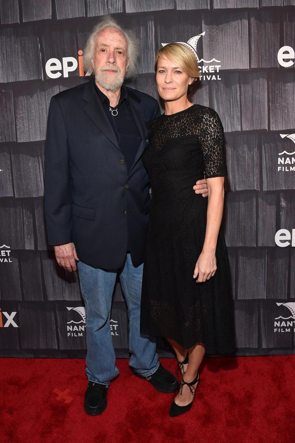 "Robert Towne (left) and Robin Wright attended the ""Screenwriters Tribute"" event at the film festival."